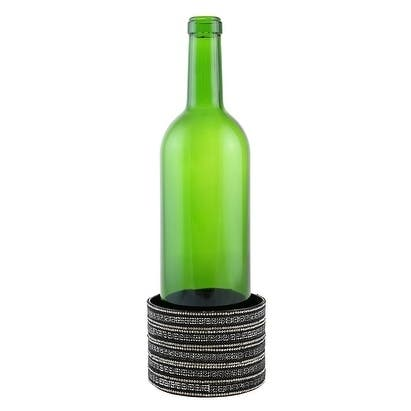 """Decorated Wine bottle Coaster, silver and black crystal strips, 4""""X2.75"""""""