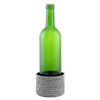 "Decorated Wine bottle Coaster, crystal strips, 4""X2.75"""