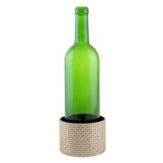 "Decorated Wine bottle Coaster, copper color crystal pieces, 4""X2.75"""
