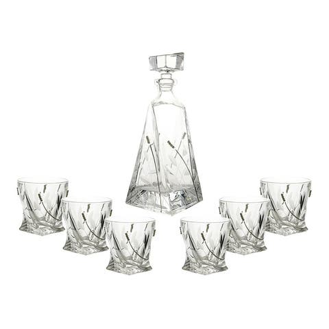 7-Pc set of twisted shaped liquor bottle / decanter and D.O.F. glasses with crystal decorations