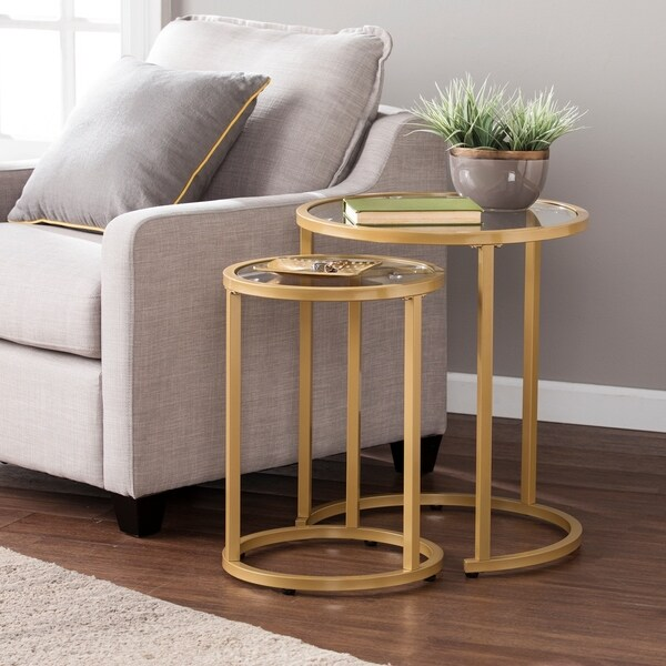 e68cf763d37f9 Silver Orchid Grant Glam Nesting Side Table 2pc Set - Gold. Click to Zoom