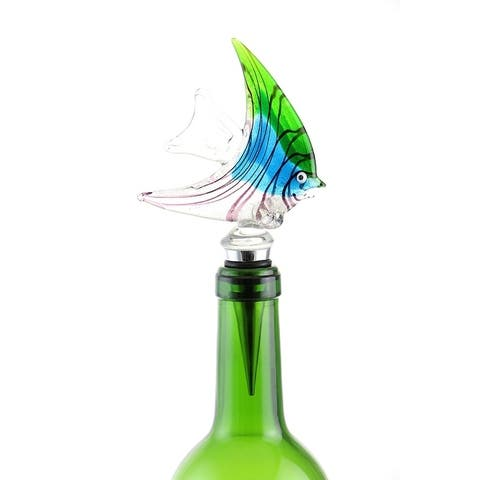 Murano Inspired Exotic Colorful Angel fish and Gift Box Wine Bottle Stopper