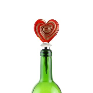 Murano Inspired Glass Gold and Red Swirl Heart and Gift Box Wine Bottle Stopper (Option: China)