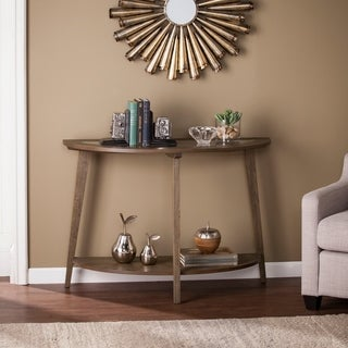 Harper Blvd Charlton Demilune Burnt Oak Wooden Console Table with Glass Top