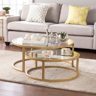 Harper Blvd Elisha Goldtone Steel with Glass Tops Glam 2-piece Nesting Cocktail Table Set