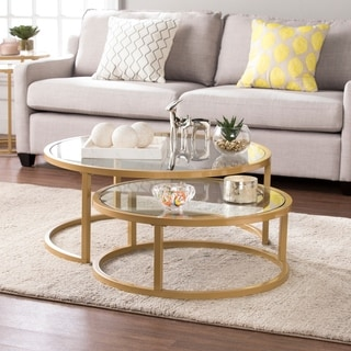 Harper Blvd Elisha Goldtone Steel With Glass Tops Glam 2 Piece Nesting Cocktail  Table Set