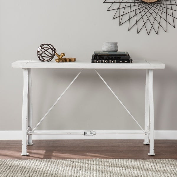 Carbon Loft Edelman Farmhouse Style Distressed White Console Table