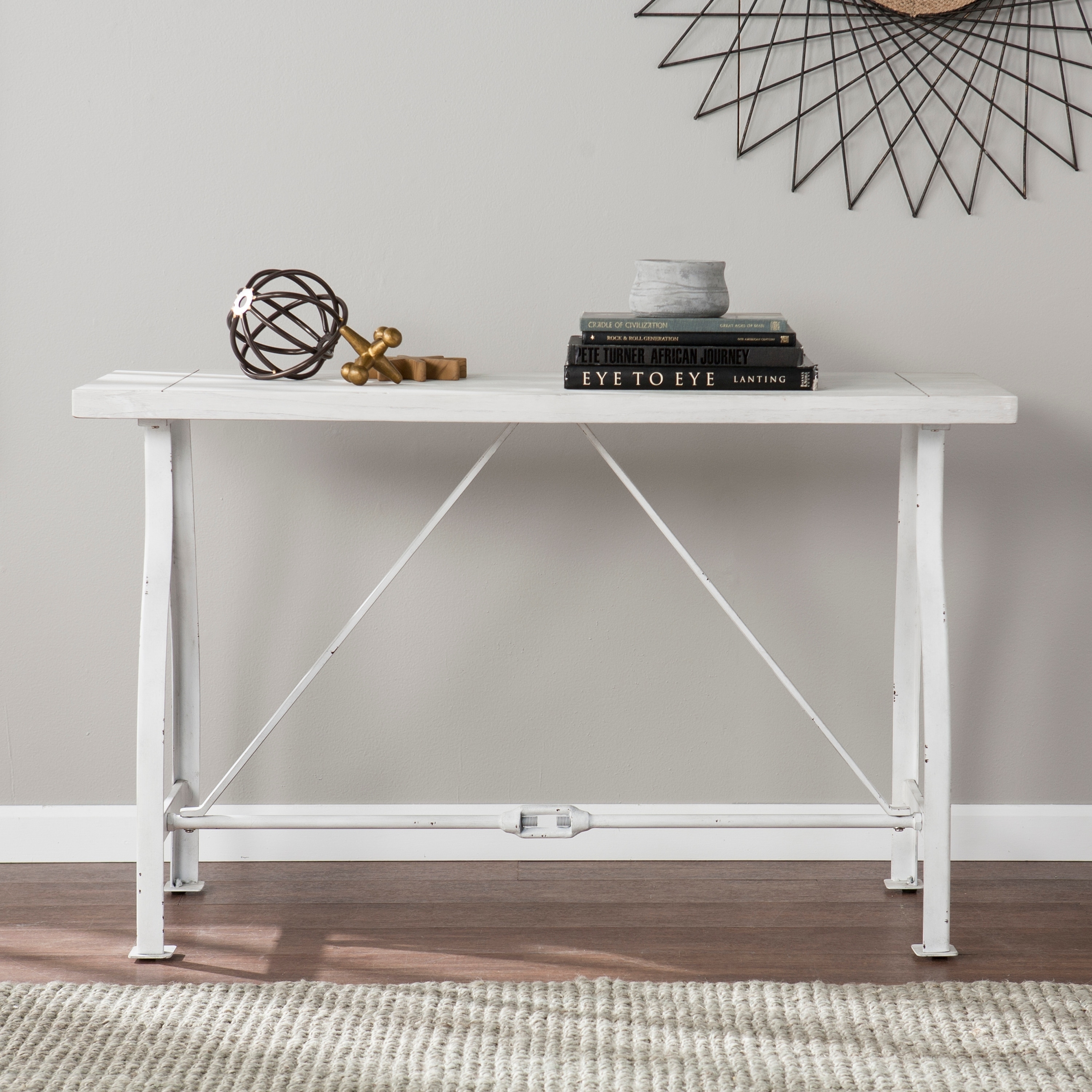 marvelous Overstock Console Tables Part - 3: Harper Blvd Juniper Farmhouse Style Console Table - Distressed White