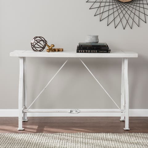 The Gray Barn Four Winds Farmhouse Style Distressed White Console Table