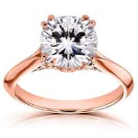 Annello by Kobelli 14k Gold 2 7/8ct TGW Cushion Moissanite (FG) and Diamond Engagement Ring
