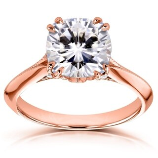 Annello by Kobelli 14k Gold 2 7/8ct TGW Cushion Moissanite (FG) and Diamond Engagement Ring