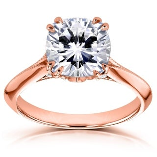 Annello by Kobelli 14k Gold 2 7/8ct TGW Cushion Moissanite and Diamond Engagement Ring