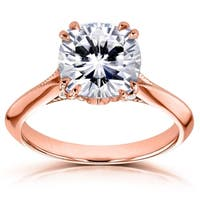 Annello by Kobelli 14k Gold 2 7/8ct TGW Cushion Moissanite (DEF) and Diamond Engagement Ring