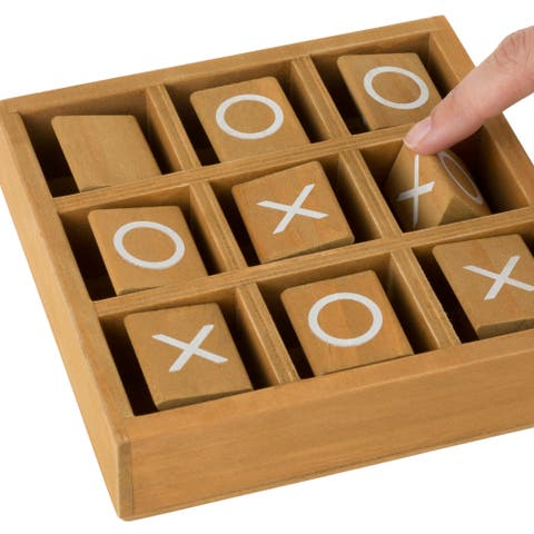 Tic-Tac-Toe Small Wooden Travel Game with Fixed, Spinning Pieces - Traveling Board Game by Hey! Play!