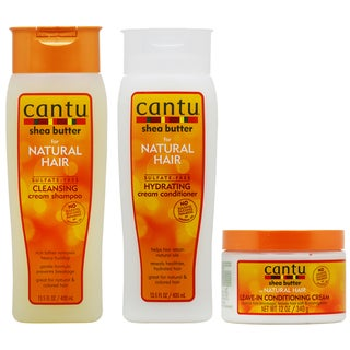 Cantu Cleansing Cream Shampoo & Hydrating Conditioner + Leave-in Conditioning Cream
