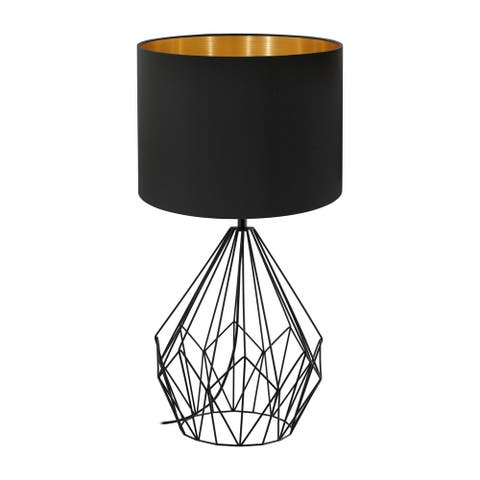 Eglo Pedregal 1 Table Lamp W/ Matte Black Finish and Black/ Gold Shade