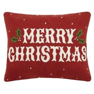 Vintage Merry Christmas Crewel Pillow