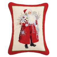 Lynn Haney Snowflakes and Scarlet Santa Needlepoint Pillow