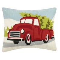 Red Truck With Christmas Tree Crewel Pillow
