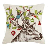 Deer With Holly And Ornament Embroidered Pillow