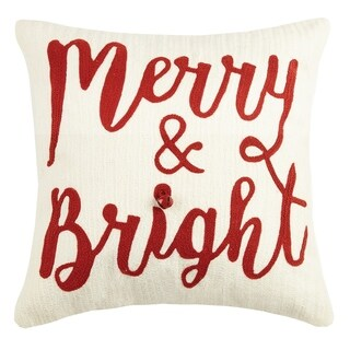 Merry and Bright With Bell Crewel Pillow
