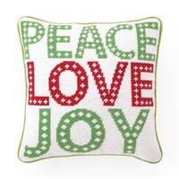 Peace Love Joy Needlepoint Pillow
