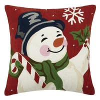 Snowman with Candy Cane Crewel Pillow