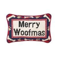Merry Woofmas Needlepoint Pillow