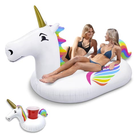 GoFloats Giant Inflatable Unicorn Pool Float with Bonus Drink Float