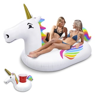 GoFloats Giant Inflatable Unicorn Pool Float with Bonus Drink Float