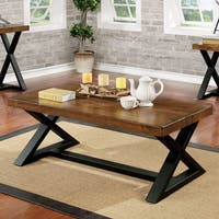 Furniture of America Wildrow Rustic Two-tone Brown and Black Wood Trestle Coffee Table