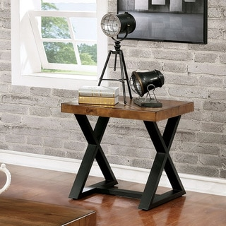 Furniture of America Wildrow Industrial Oak Metal Trestle End Table