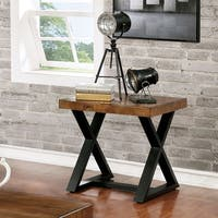 Furniture of America Wildrow Black Wood Trestle End Table With Oak Finish