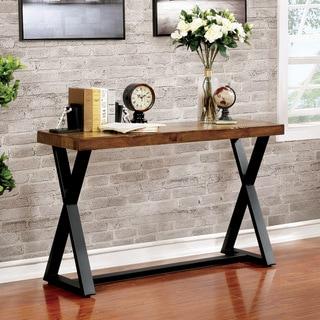 Furniture of America Wildrow Rustic Oak Metal Trestle Sofa Table