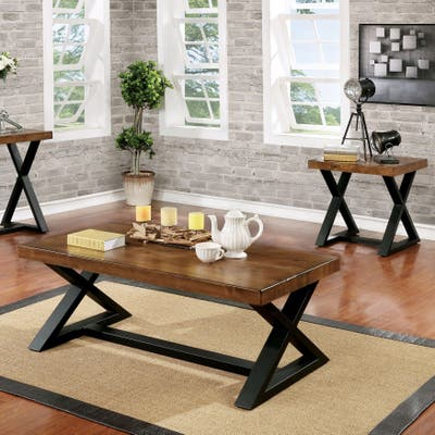 Buy Wood Finish Rustic Coffee Console Sofa End Tables Online