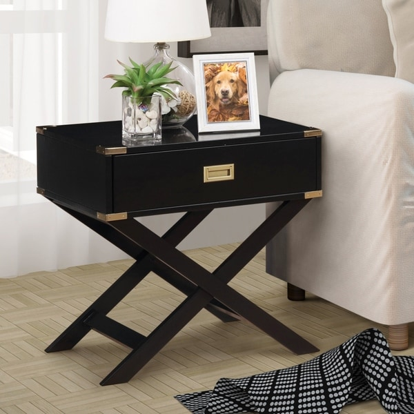 Furniture of America Yore Contemporary Solid Wood 1-drawer End Table. Opens flyout.