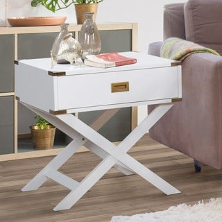 Maysa Contemporary Rectangular End Table by FOA (White)