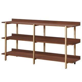 Furniture of America Rayna II Contemporary Light Walnut Open 3-tier Wide Display Shelf