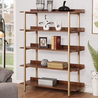 Furniture of America Rayna I Contemporary Light-walnut-finished Veneer and Goldtone-finished Metal Open 5-tier Display Shelf