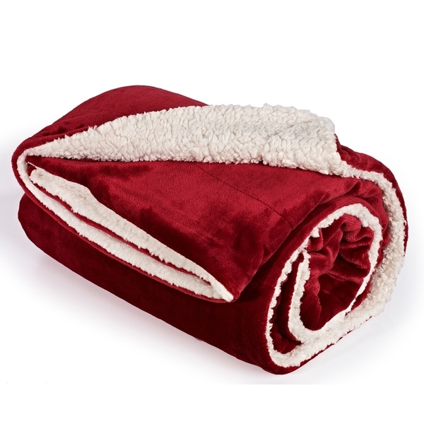 shop holiday red micro mink sherpa reversible throw blanket 2 sizes on sale free shipping. Black Bedroom Furniture Sets. Home Design Ideas