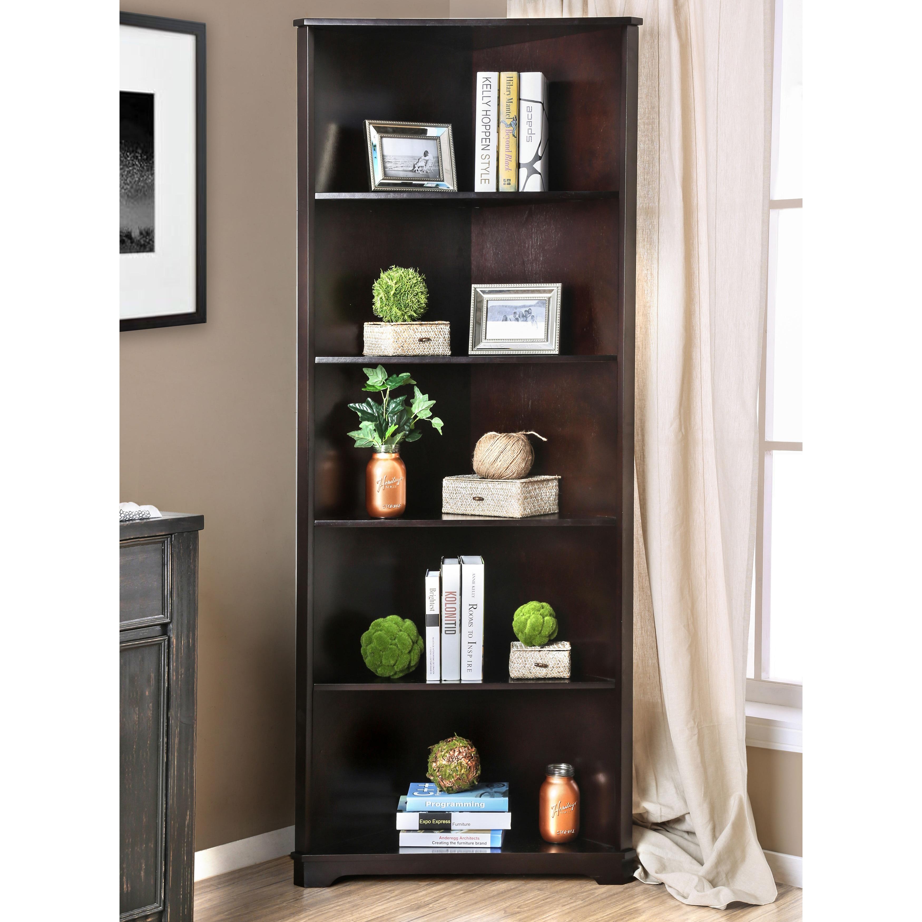Furniture Of America Copley Contemporary Solid Wood Corner Bookshelf