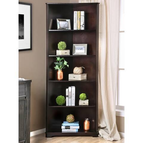 Furniture of America Copley Transitional Solid Wood Corner Bookshelf