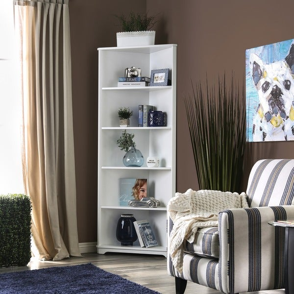 Furniture Of America Copley Wood Contemporary 5 Tier Corner Bookshelf