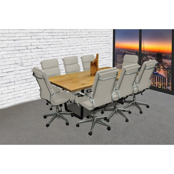 SOLIS Castillo 9-Piece Solid Wood Conference Table Set with Taupe Padded Low Back Bonded  sc 1 st  Overstock.com & SOLIS Castillo 9-Piece Solid Wood Conference Table Set with Taupe ...