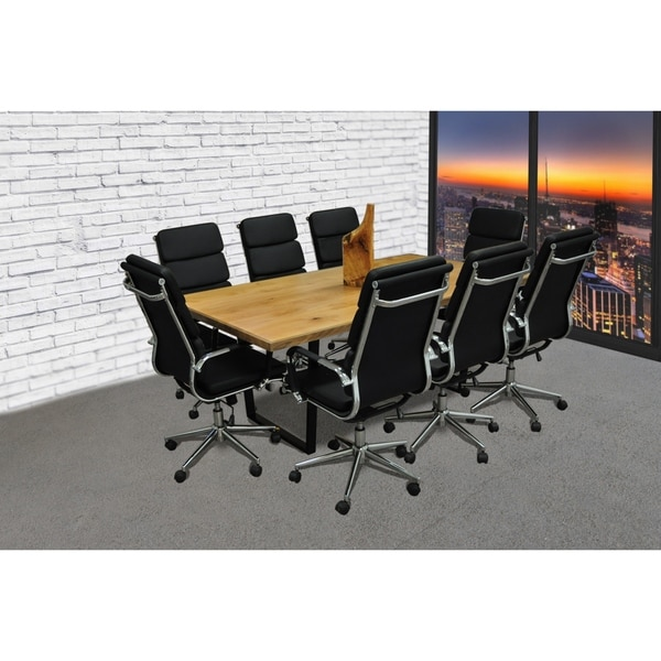 SOLIS Castillo 9-Piece Solid Wood Conference Table Set with Black Padded High Back Bonded  sc 1 st  Overstock.com & SOLIS Castillo 9-Piece Solid Wood Conference Table Set with Black ...