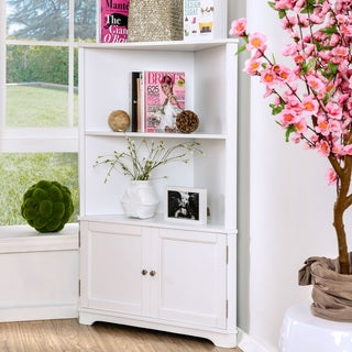 Link to Furniture of America Varl Contemporary Solid Wood Corner Bookshelf Similar Items in Bathroom Cabinets