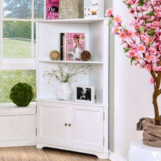 Furniture of America Varl Contemporary Solid Wood Corner Bookshelf