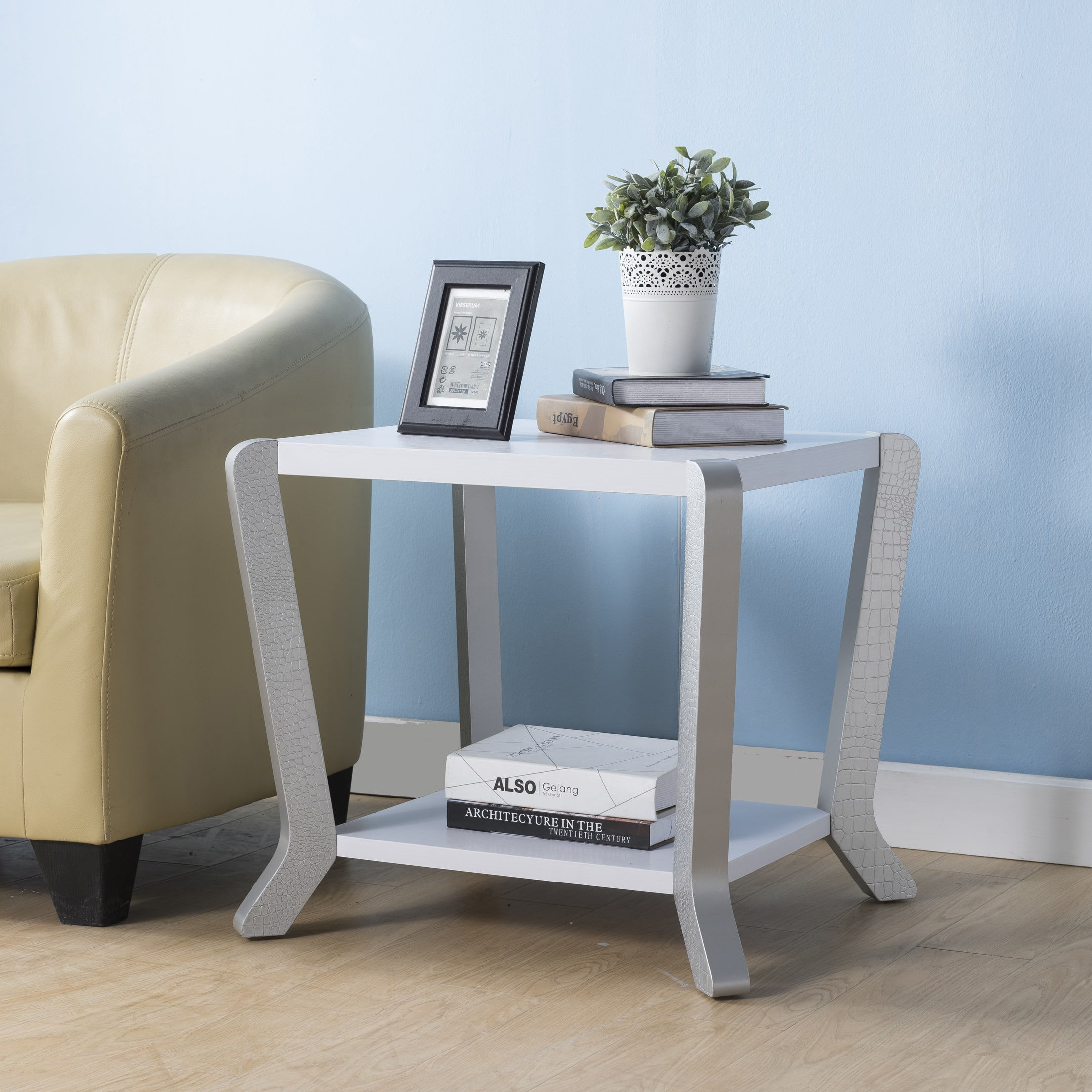 Cinthia Contemporary White Side Table by FOA