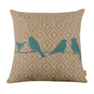 Vintage Home Decor Cotton Linen Throw Pillow Cover Four Birds With Pattern