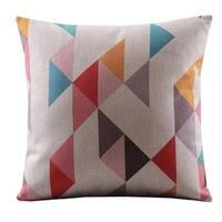 Vintage Home Decor Cotton Linen Throw Pillow Cover Colorful Abstract